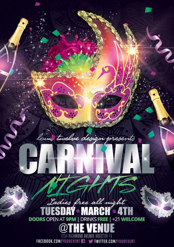 Яркий плакат для карнавала с красивой маской и шампанским Free PSD