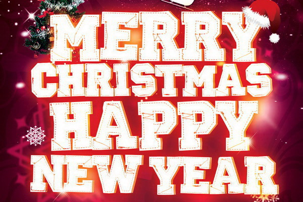 Афиша Merry Christmas Happy New Year Free PSD