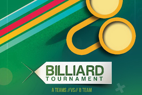 Дизайн афиши для турнира по бильярду Billiard Free PSD